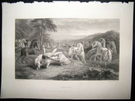 After John Frederick Herring 1865 Antique Print, Mazeppa Horse Print, Art Journal